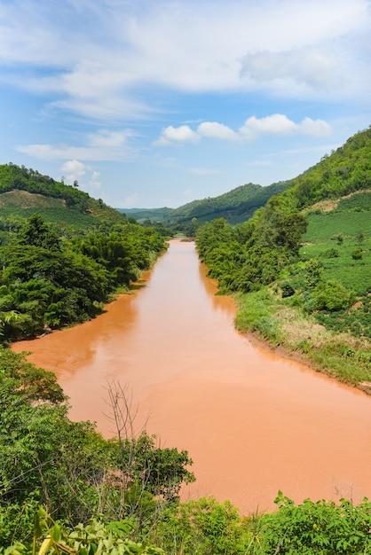 東南アジアの雨の後の川の野生の自然の風景 Premium写真