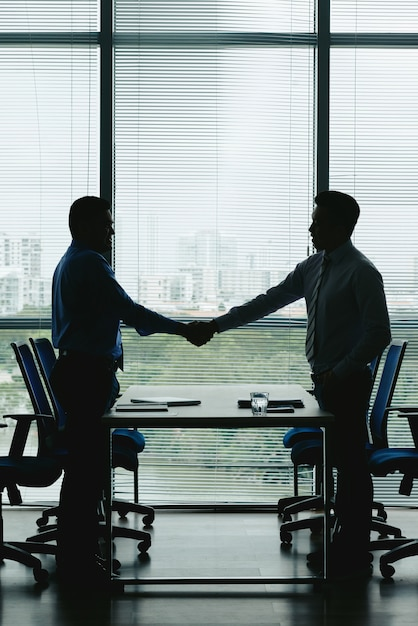 Win-win契約を祝うために握手する2人のビジネスマンの概要 無料写真