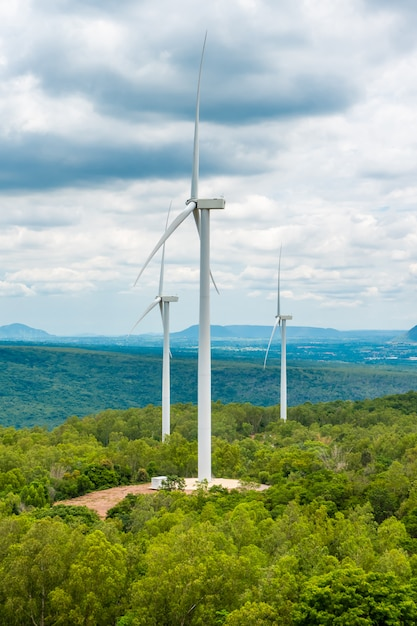 Wind energy turbines in the midst of nature, gorge and trees sky Premium Photo