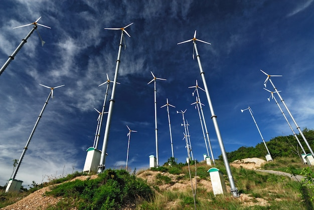 Wind mill power plant on larn island Premium Photo
