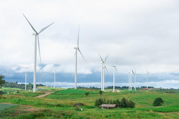Wind turbines in the field Premium Photo