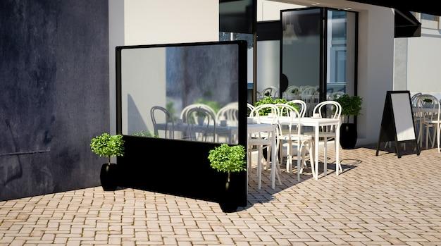 Windbreaker mockup on a terrace Premium Photo