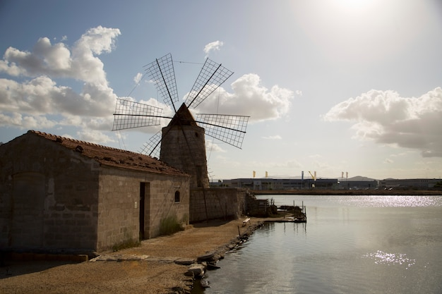Windmill in the town of trapani in sicily Premium Photo