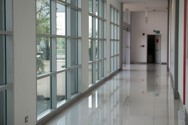 Window Corridor In Hallway With Natural Light In Modern Office Building  Interior Premium Photo