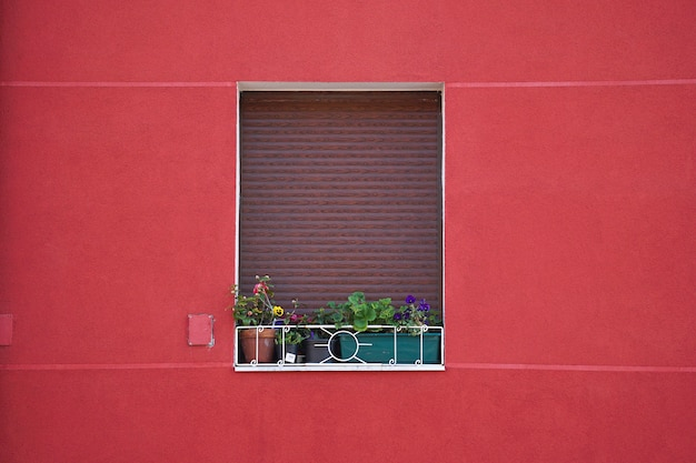 Window on the red facade of the house in the city Premium Photo