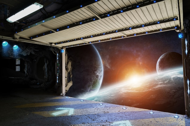 Window view of planet earth from a shuttle runway Premium Photo