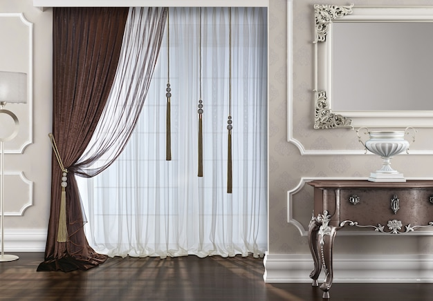 Window with curtain decoration Premium Photo