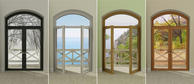 Windows at different times . Premium Photo