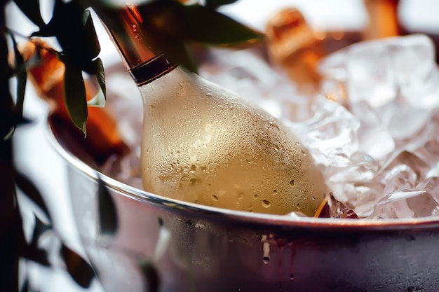 Wine bottle in ice bucket Premium Photo