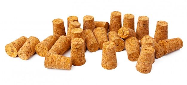 Wine corks isolated on white Premium Photo