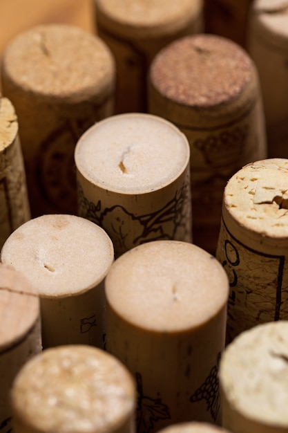 Wine corks on the table Free Photo