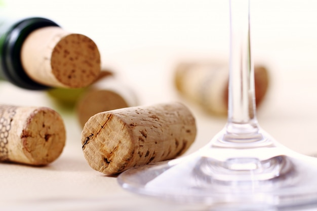 Wine corks on a table Free Photo