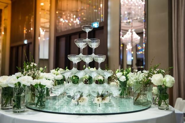 Wine glasses are arranged for parties. Premium Photo