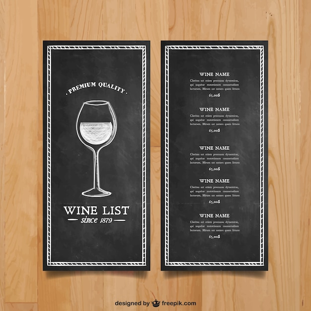 Wine list template Vector | Free Download