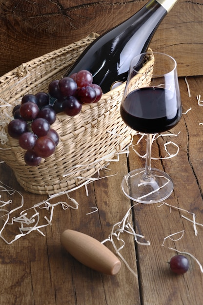 Wineglass for tasting on rustic table Premium Photo