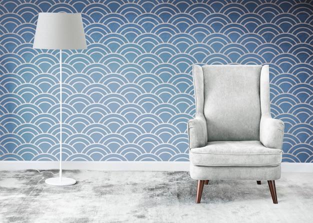 방 모형의 윙 백 회색 의자 무료 사진