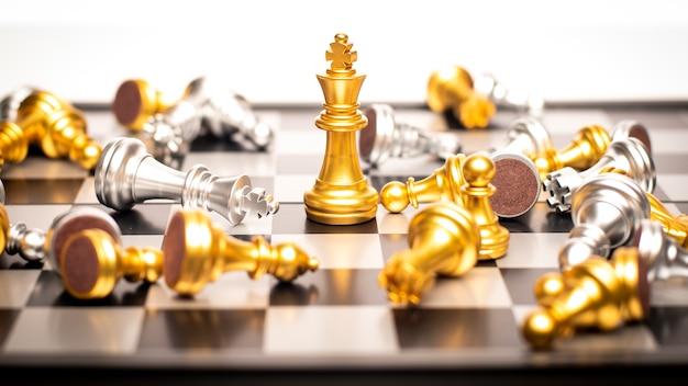 Winner of business concept, chessboard game Premium Photo