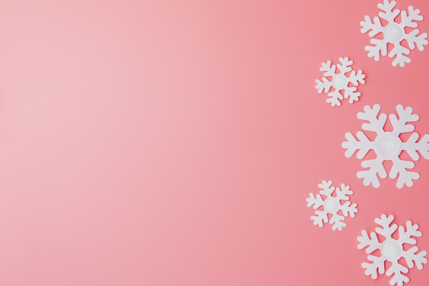 Winter background made of snowflakes and. christmas concept. flat lay. copy space Premium Photo
