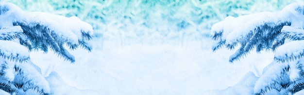 Winter christmas . background for design with snow-covered branches Premium Photo