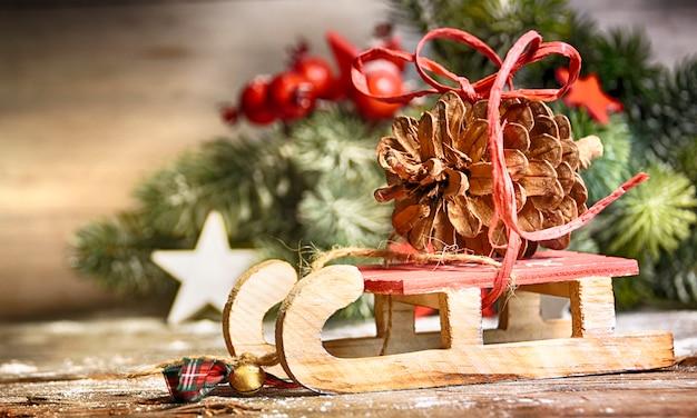 冬のクリスマスの背景 Premium写真