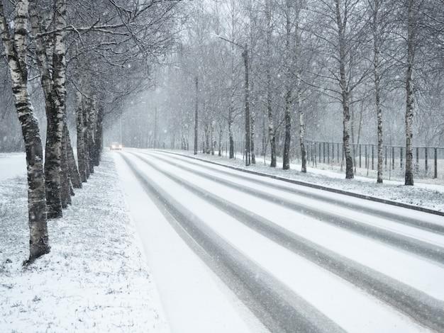 降雪の冬の田舎道。 Premium写真