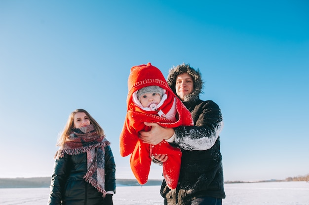 Winter family sled baby Premium Photo