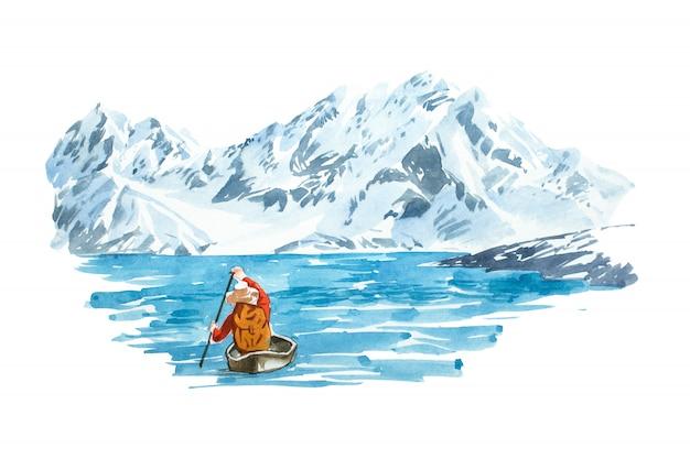 山と冬の湖。自然の風景。 Premium写真