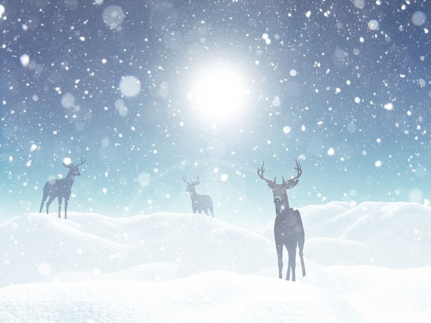 Winter landscape with deer in snow Free Photo