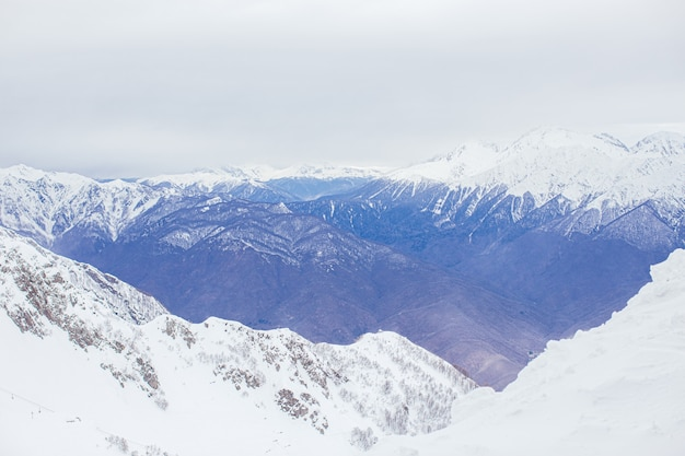 Winter panorama view of mountains. cold winter maille cloudy day in mountains Premium Photo