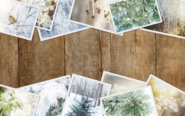 Winter photo collage. selective focus. nature winter Premium Photo