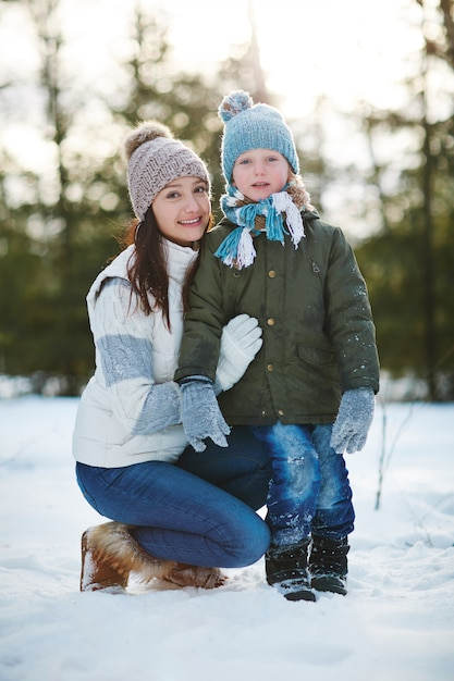 Winter portrait of mother and son Free Photo