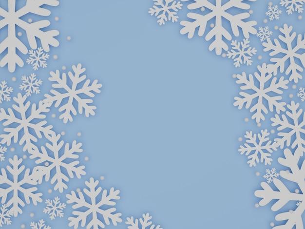 雪片、3dレンダリングと冬の空色の背景 Premium写真