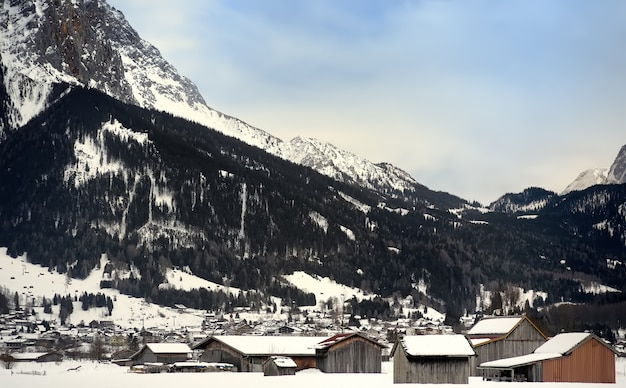 Winter view of a small town in the alpine mountains Premium Photo