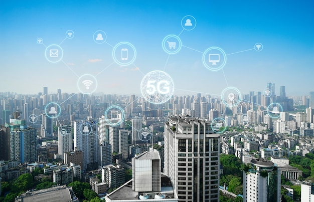 Wireless communication network concept Premium Photo