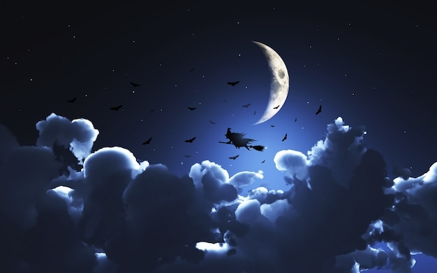 A witch on halloween night Free Photo