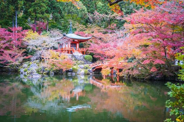 秋の紅葉と葉の美しいwith寺 無料写真