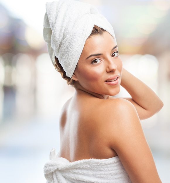 Woman after showering with towel Free Photo