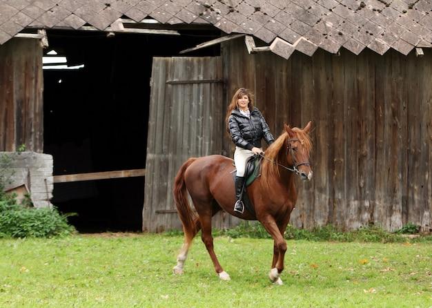 女性と彼女の茶色の馬 無料写真