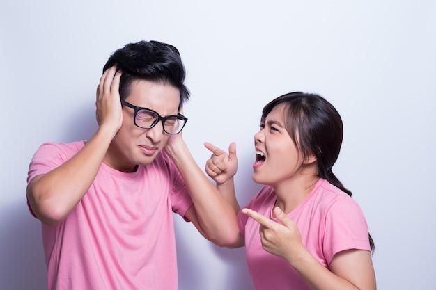 Woman angry her boyfriend Premium Photo