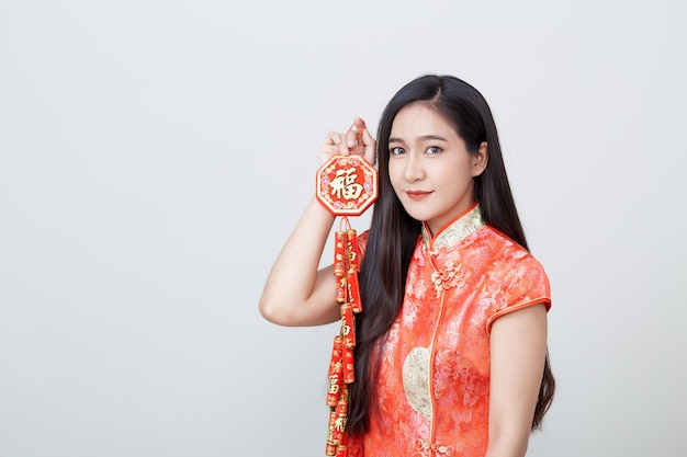 Woman asian in traditional chinese long dress Premium Photo