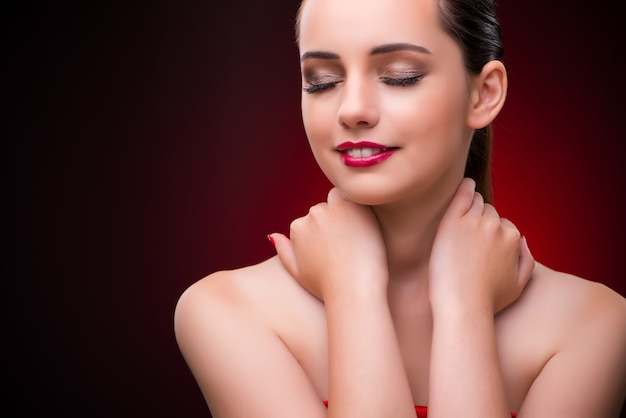 Woman in beauty concept with red lipstick Premium Photo