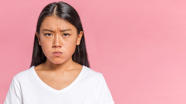 Woman being angry with copy space Free Photo