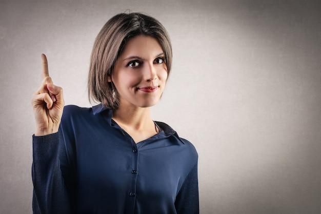 Woman cautioning to a problem Premium Photo