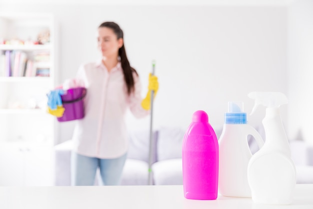 Woman cleaning her home Free Photo