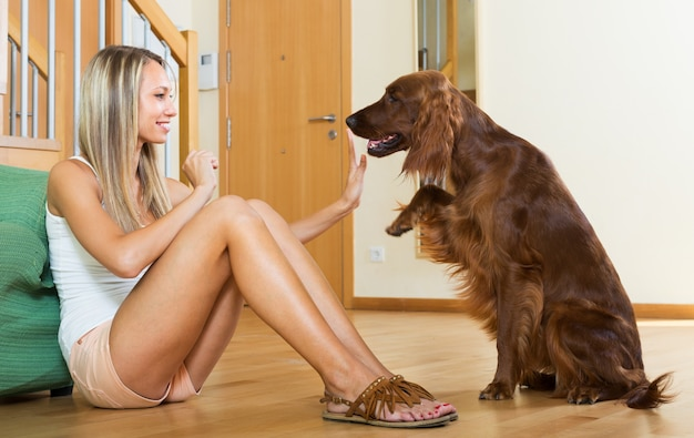 woman communicating with Irish setter Free Photo