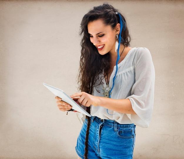 Woman communication connection network laptop concept Free Photo