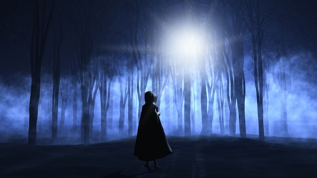 A woman in a dark forest Free Photo