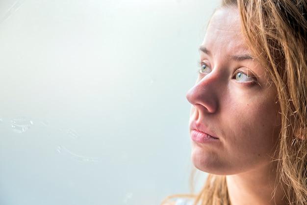 Woman Depressed Series Sad Girl Looking Out Of Windowvintage Filtered Free
