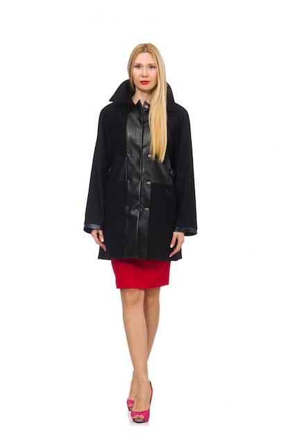 Woman in dress and black coat isolated on white Premium Photo