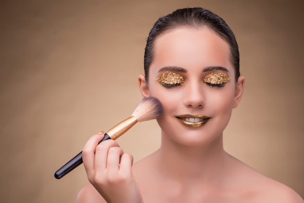 Woman during cosmetics session in fashion concept Premium Photo